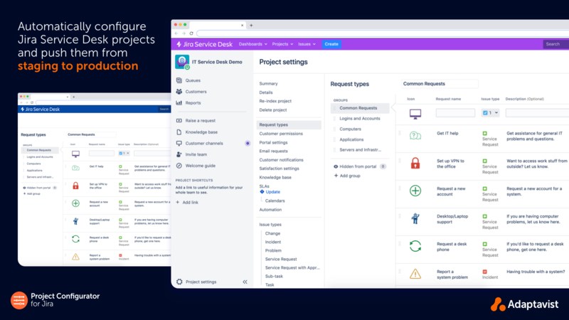 Safely test changes to internal or customer-facing Jira Service Desk projects in a staging environment by exporting and importing Jira Service Desk Projects or configurations.
