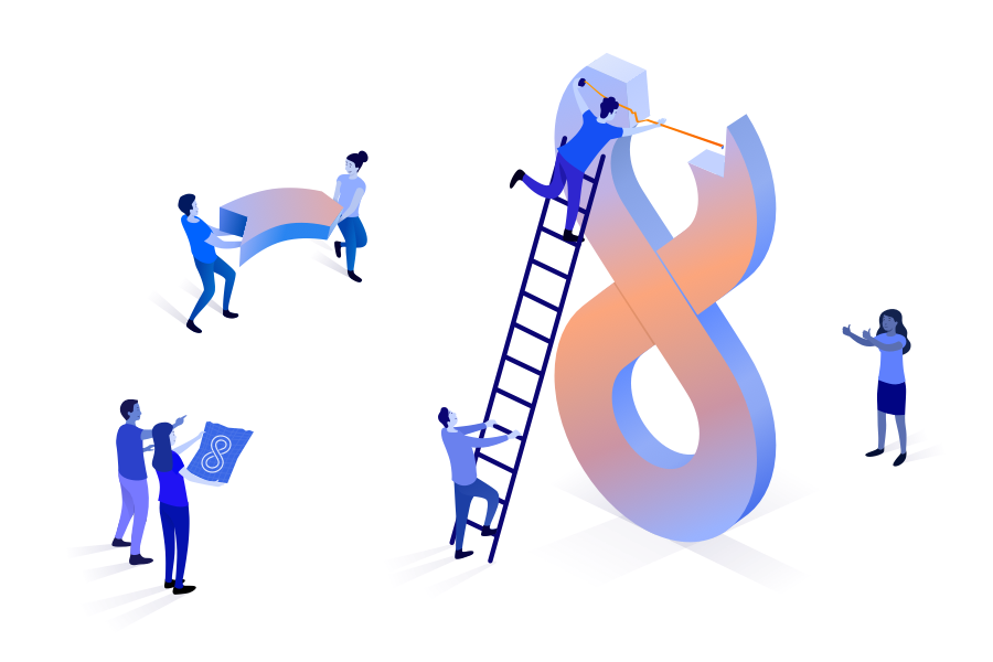 Illustration of smaller people building a large infinity symbol