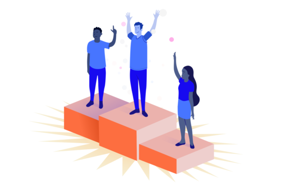 Illustration of three people standing on a podium
