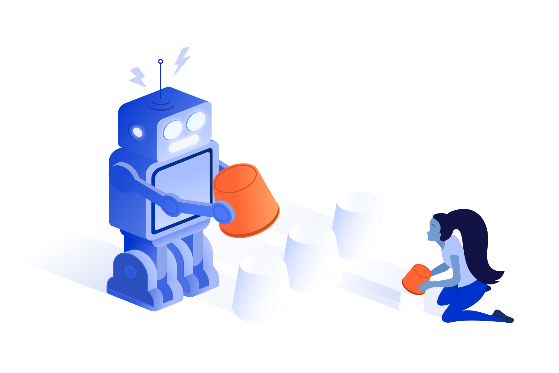Atlassian tips and tricks robot and girl illustration
