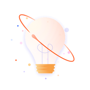 A cartoon lightbulb surrounded by coloured speckles
