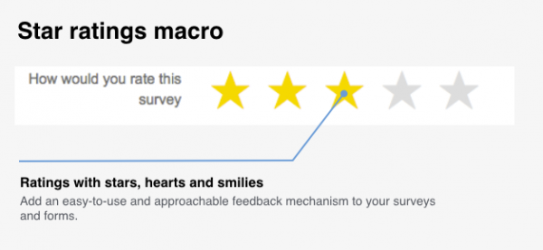 Star rating matrix macro in Forms for Confluence Server