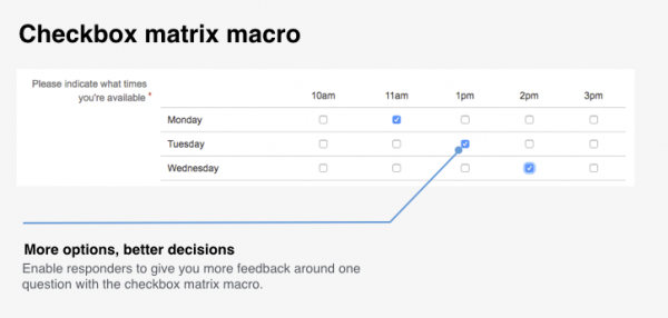 Checkbox matrix macro in Forms for Confluence Server