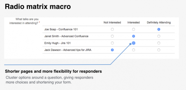 Radio matrix macro in Forms for Confluence Server