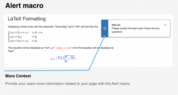 Alert macro - one of the best Confluence macros for enhancing your content user