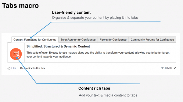 Use the Tabs macro to improve content clarity