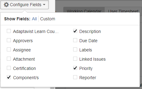 Configure fields lets you adjust Jira to your personal preference