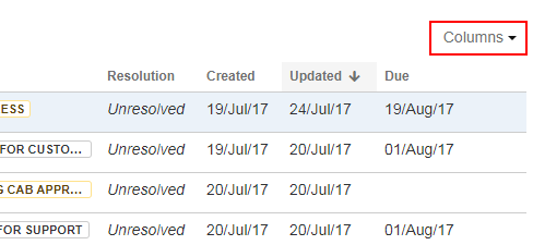 Customise Jira with the Select Columns option