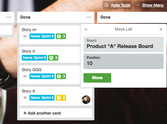 Release planning with Trello