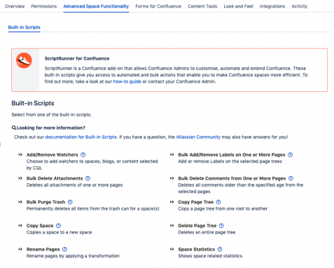 Scriptrunner for Confluence: built in scripts