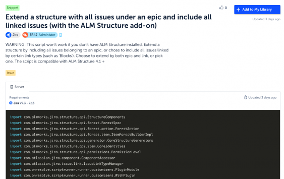 ALM Structrure Adaptavist ScriptRunner extend issues in Jira