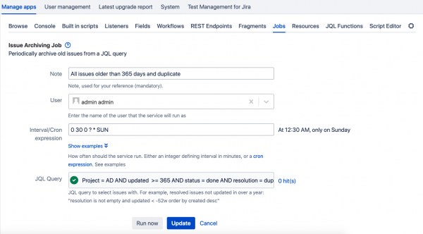 Issue Archiving Job for Atlassian