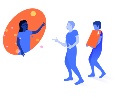 An illustration of a person in a portal waving at two other people