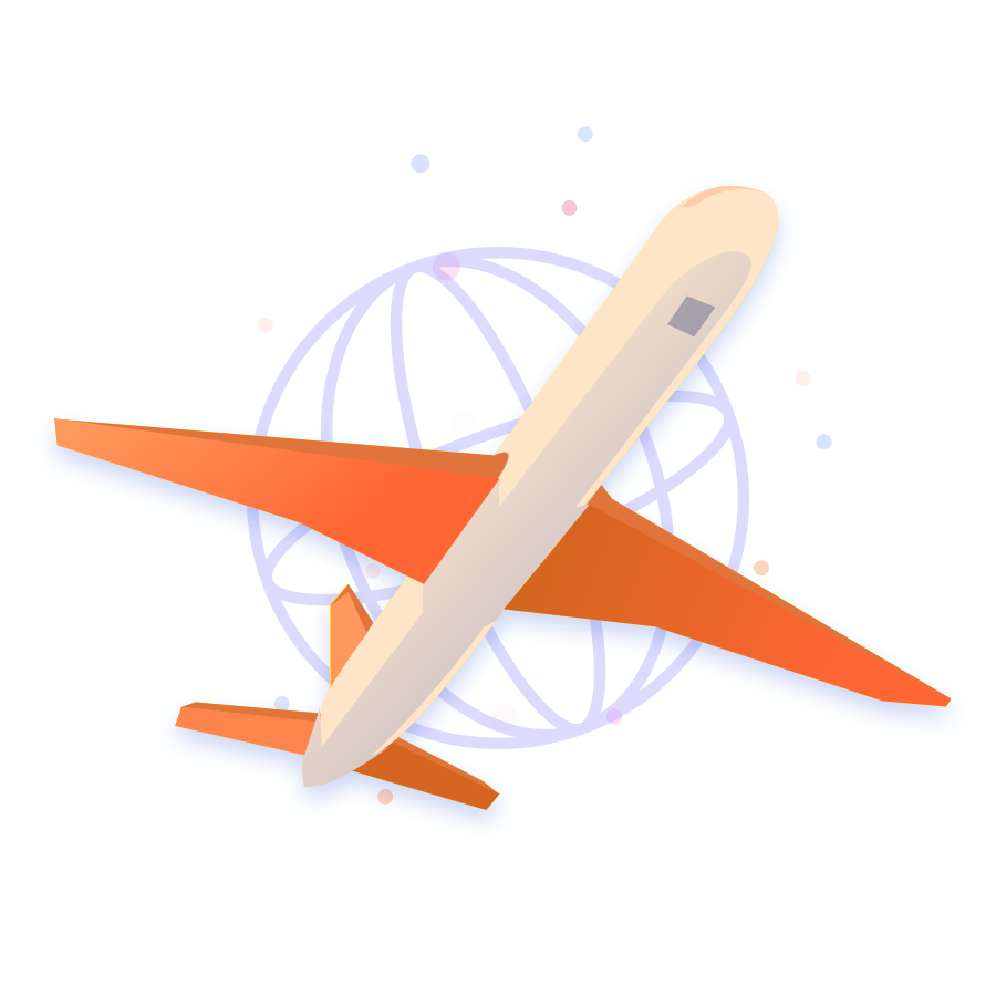 An illustration of an airplane with a globe symbol behind it