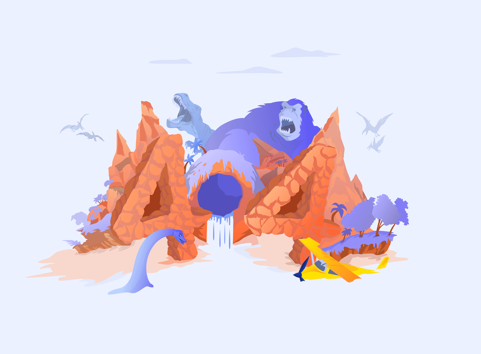 Image for the 404 page, which shows some dinosaurs and a gorilla.