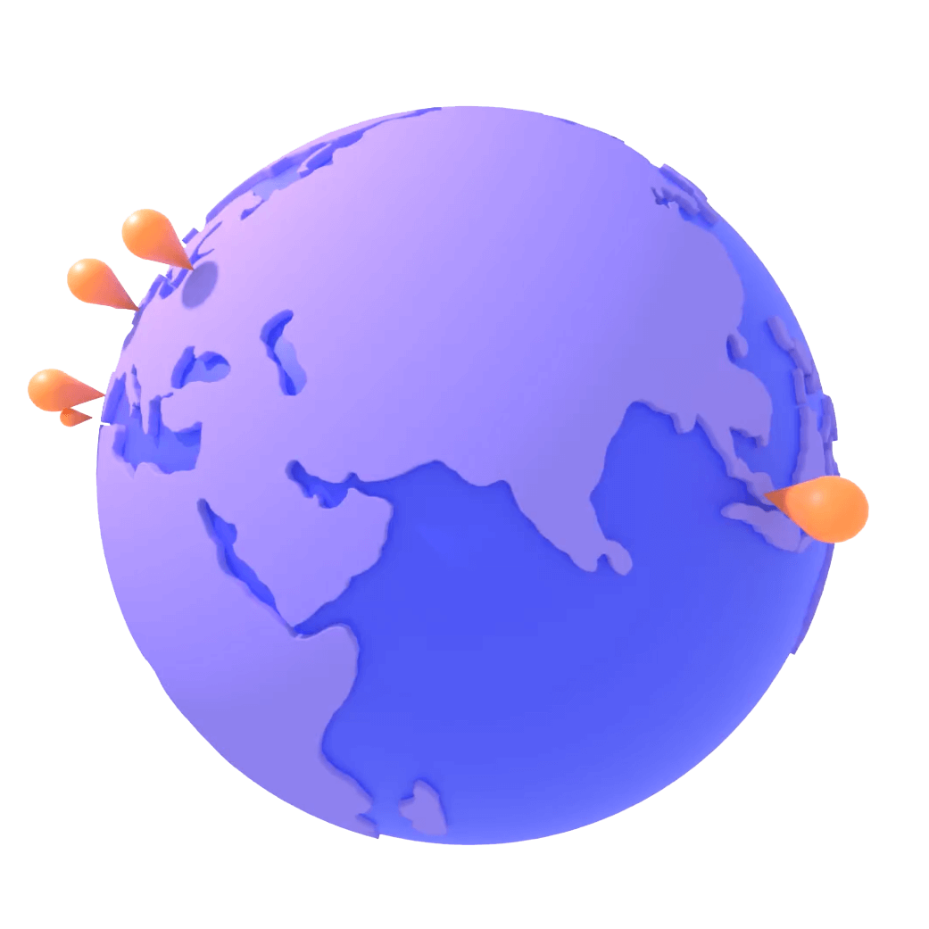 Illustration of a globe with location pins