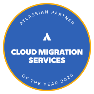 An award badge which reads 'Atlassian Partner of the year 2020 for Cloud Migration Services'