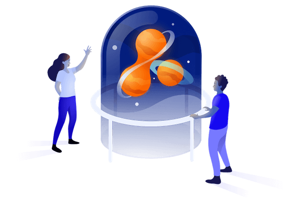 Illustration of two people marvelling at an Adaptavist planetarium in a glass dome