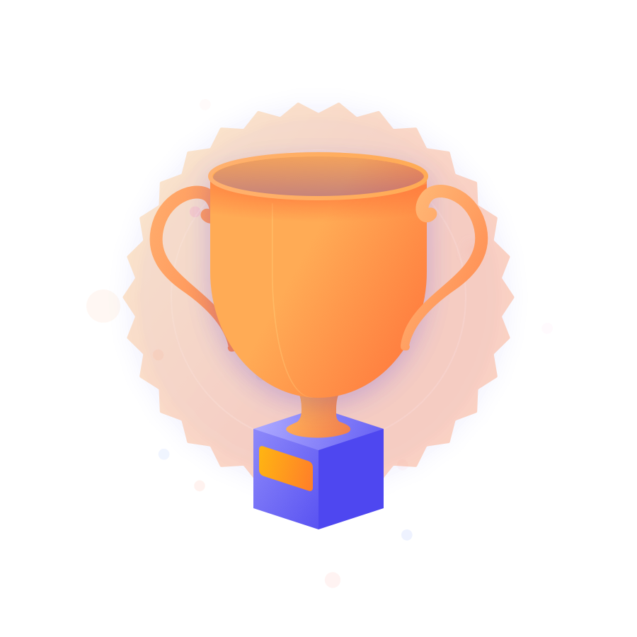 A cartoon trophy cup with a translucent award badge background, surrounded by decorative speckles