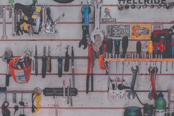 Tools inside a workshop
